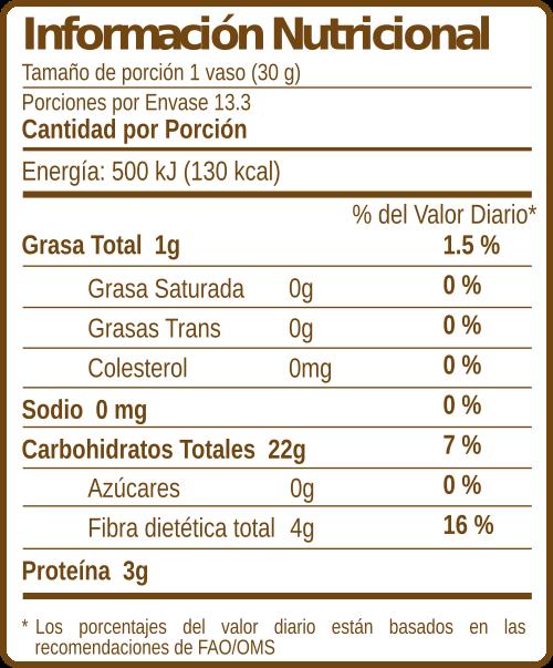 Pinolillo - Información Nutricional
