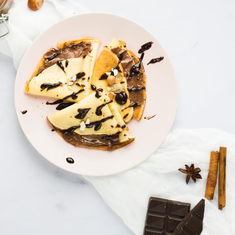 Crepes de avena y chocolate